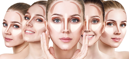 Photo pour Collage of womans faces with contouring makeup. - image libre de droit