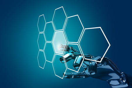 Foto de Robot hand push the hexagon button in hexagons. 3d rendering - Imagen libre de derechos