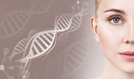 Foto de Portrait of sensual woman in DNA chains. - Imagen libre de derechos