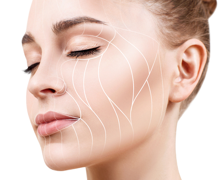 Photo pour Graphic lines showing facial lifting effect on skin. - image libre de droit