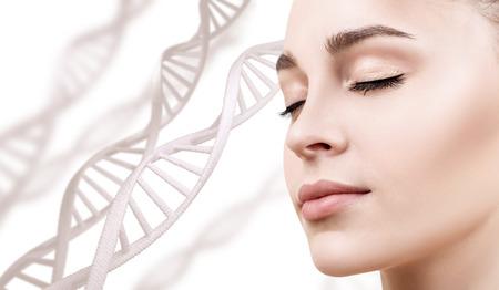 Photo pour Portrait of sensual woman among DNA chains - image libre de droit