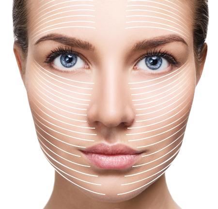 Photo pour Graphic lines shows facial lifting effect on skin. - image libre de droit