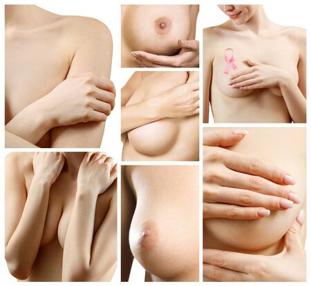 Foto per Collage of naked woman examining her breast. - Immagine Royalty Free