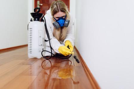 Foto de Exterminator in work wear spraying pesticide with sprayer. - Imagen libre de derechos