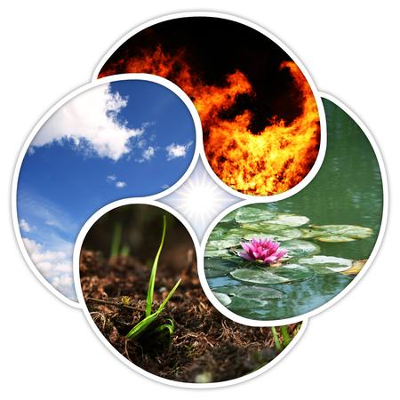 Photo pour A quadruple yin yang symbol with the four elements of nature: fire, water, earth, air. - image libre de droit
