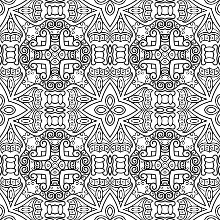 Ilustración de Vector Monochrome Abstract Pattern. Decorative Seamless Background. For Coloring - Imagen libre de derechos