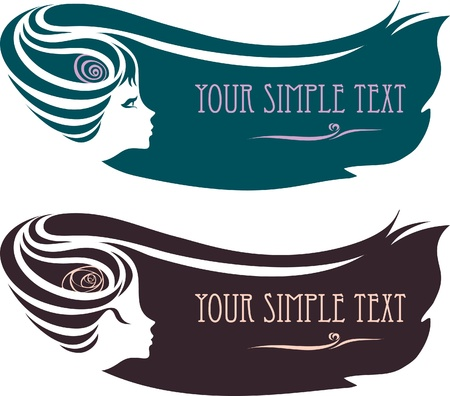 Illustration for silhouette of a female profile with a hairdo. - Royalty Free Image