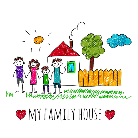 Illustration pour image of happy family with house. Kids drawing I love my family - image libre de droit