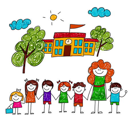 Illustrazione per image of happy children with teacher. Kids drawing - Immagini Royalty Free