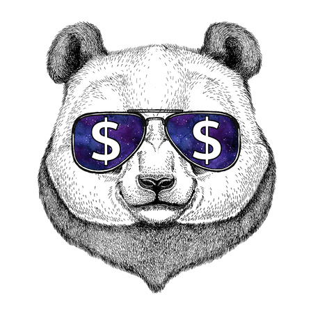 Foto de Panda bear, bamboo bear wearing glasses with dollar sign Illustration with wild animal for t-shirt, tattoo sketch, patch - Imagen libre de derechos