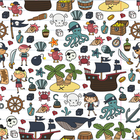 Illustration pour Children playing pirates Boys and girls  school, preschool, halloween party Treasure island, pirate ship, crab, parrot Adventure and travel and fun Birthday invitation - image libre de droit
