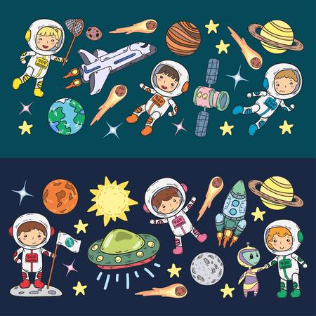 Illustration pour Space Kindergarten, school Astronomy lesson Children, doodle kids illustration Ufo, alien, Moon surface, Earth, Jupiter, Saturn, Mars Vector icons - image libre de droit