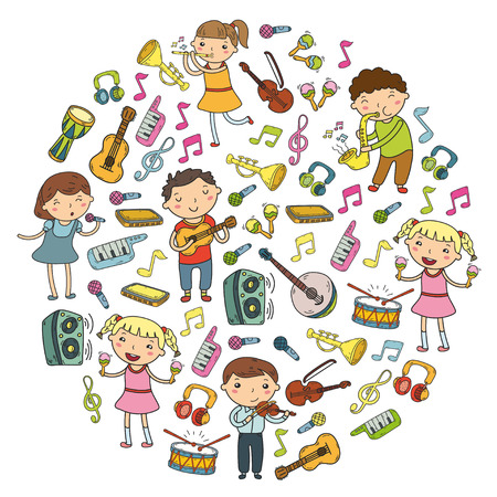 Illustration pour Music school for kids Vector illustration Children singing songs, playing musical instruments  Doodle icon collection Illustration for children music lesson - image libre de droit