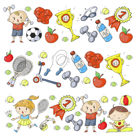 Illustrazione per Children sport. Kids drawing. Kindergarten, school, college, preschool. Soccer, football, tennis, running, boxing, rugby, yoga, swimming - Immagini Royalty Free