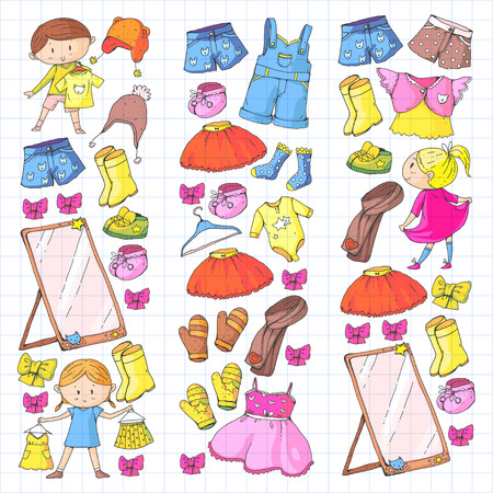 Illustration for Children clothing Kindergarten boys and girls with clothes New clothing collection Dresses, trousers, shoes, hats, caps, gloves, scarf. Princess dress - Royalty Free Image