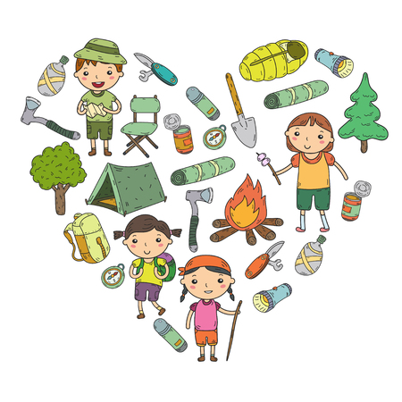 Illustrazione per Camping. Summer vacation. Boys and girls. Kindergarten children. School students Young scouts. Wood. Forest. Fire Adventure and exploration - Immagini Royalty Free