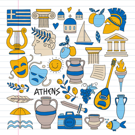 Illustration for Travel to Greece. Vector set with doodle style icons - Royalty Free Image