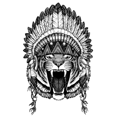 Ilustración de Wild animal wearing inidan headdress with feathers. Boho chic style illustration for tattoo, emblem, badge, logo, patch. Children clothing image - Imagen libre de derechos