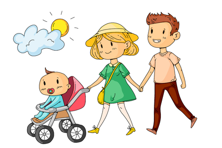 Illustration pour Young happy family walking in park with little children. - image libre de droit