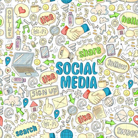 Ilustración de Social media, business, management icons Internet marketing communications - Imagen libre de derechos