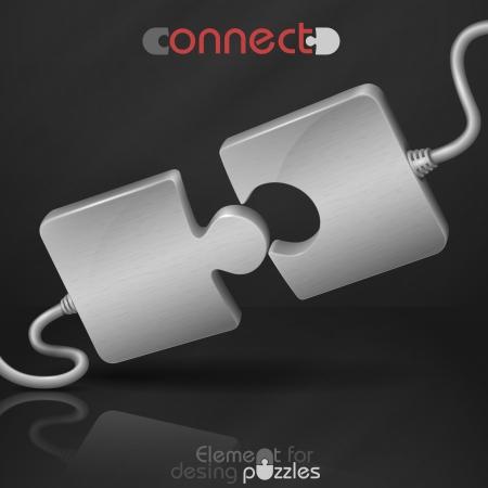 Illustration pour Metal Puzzle. Connect. Vector Illustration. Eps 10. - image libre de droit
