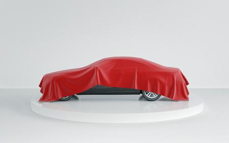 Foto de New black car hidden under red cover on white background. 3d render - Imagen libre de derechos