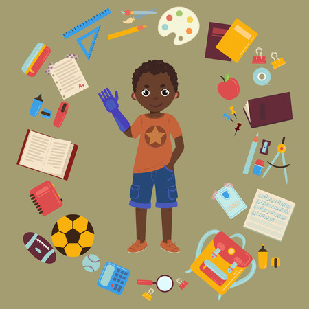 Illustration for Elementary or middle school schoolboy with arm prothesis is back to school and lessons. Supplies are notebooks, planner, pencil case textbook, balls for sports. Happy disabled handicapped boy. - Royalty Free Image