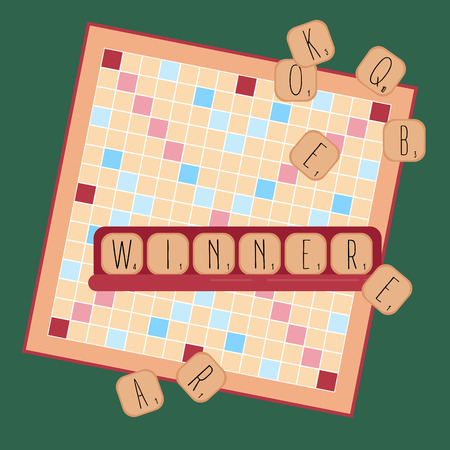 Ilustración de Board table wooden game for kids and adult. Making words from tile letters. Entertainment for everybody. Toy for erudition. Vector illustration - Imagen libre de derechos
