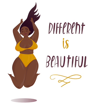 Illustrazione per Happy jumping plus size girl. Happy body positive concept. Different is beautiful. Attractive overweight woman. For Fat acceptance movement, no fatphobia. Vector illustration on white background - Immagini Royalty Free