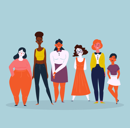 Illustration pour Diverse international and interracial group of standing women. For girls power concept, feminine and feminism ideas, woman empowerment and role cards design. - image libre de droit