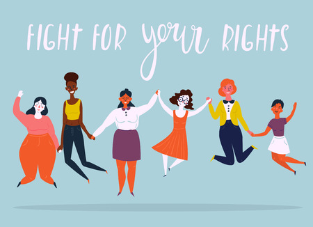 Ilustración de Diverse international and interracial group of jumping happy women. For girls power concept, feminine and feminism ideas, woman empowerment and role cards design. Fight for your rights text. - Imagen libre de derechos