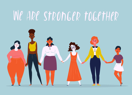 Illustration for Diverse international and interracial group of standing women. We are stronger together text. For girls power concept, feminine and feminism ideas, woman empowerment and role cards design. - Royalty Free Image