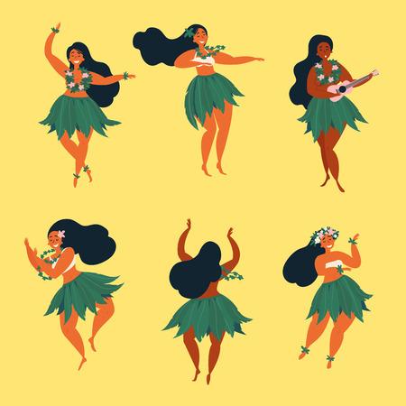 Ilustración de Set of girl in dance and sing with ukulele positions. Beautiful graceful Hawaiian girl dancing hula in traditional costume. Garland and green skirt wearings. - Imagen libre de derechos