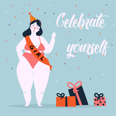Illustrazione per Celebrate yoursel and be good to yourself greeting card. Beautiful plus size fat woman in bikini, birthday cap and ribbon have celebration party. Feminist and woman power poster. Vector cartoon - Immagini Royalty Free