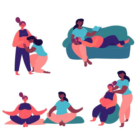 Ilustración de A cute couple of lesbians cares about one another . An African American woman with her pregnant girlfriend spend time doing yoga, reading books and preparing for childbirth. - Imagen libre de derechos