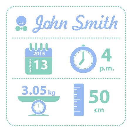 Illustration pour Baby boy announcement birth card, vector - image libre de droit