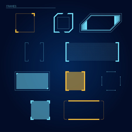 Illustration pour Vector frames elements for futuristic touch HUD (head-up display) interface - image libre de droit