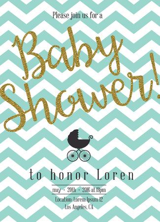 Ilustración de Baby shower invitation with golden detail - Imagen libre de derechos