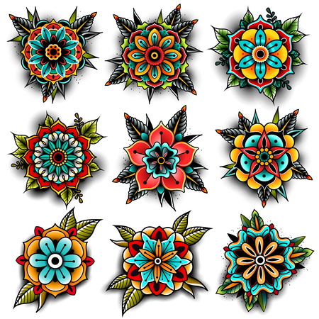 Illustration pour Old school tattoo flowers set - image libre de droit