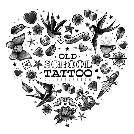 Illustration for A large set of isolated old school tattoo elements on a white background - Royalty Free Image