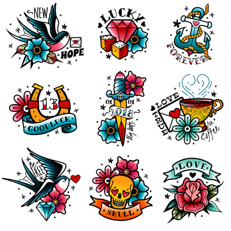 Illustration pour A set of isolated old school tattoo emblems on a white background - image libre de droit