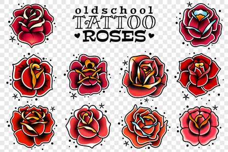 Illustration for set of four oldschool tattoo red roses on a white background - Royalty Free Image