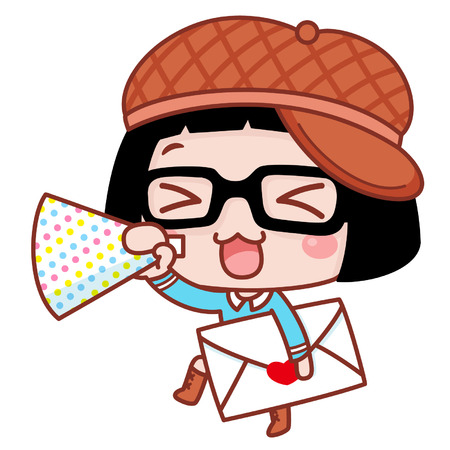 Ilustración de Cute cartoon girl making a happy announcement - Imagen libre de derechos