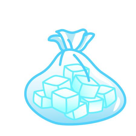 Illustration pour Cartoon bag of ice cubes - image libre de droit