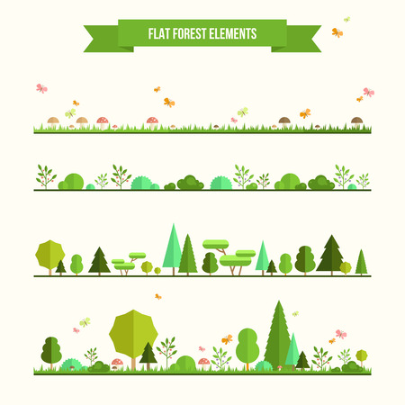 Illustration pour Trendy and beautiful set of flat forest elements. Include grass, mushrooms, berries, bushes and trees - image libre de droit