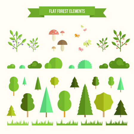 Ilustración de Trendy and beautiful set of flat forest elements. Include grass, mushrooms, berries, bushes and trees - Imagen libre de derechos
