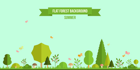 Illustration pour Summer forest flat background. Simple and cute landscape for your design - image libre de droit