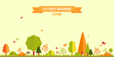 Illustration pour Autumn forest flat background. Simple and cute landscape for your design - image libre de droit