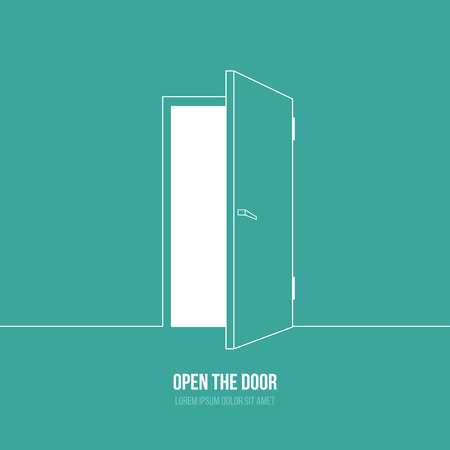 Illustration for Vector illustration of open door. Symbol of freedom, hope, success, new way - Royalty Free Image