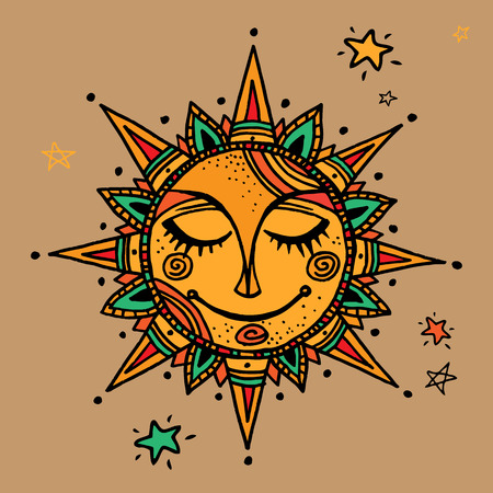 Illustration for Hand drawn summer sun tribal background. Ornamental decoration, mandala, ethno, vintage ornament. - Royalty Free Image